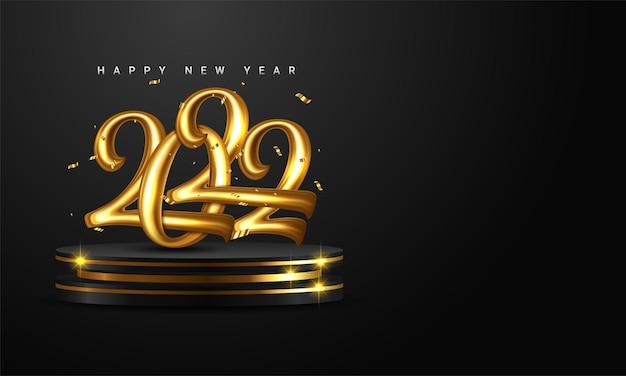 2022 golden decoration holiday on dark background