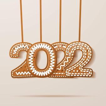 Поздравительная открытка 2022 года с застекленным текстом в стиле печенья. пряничные числа. векторные иллюстрации.