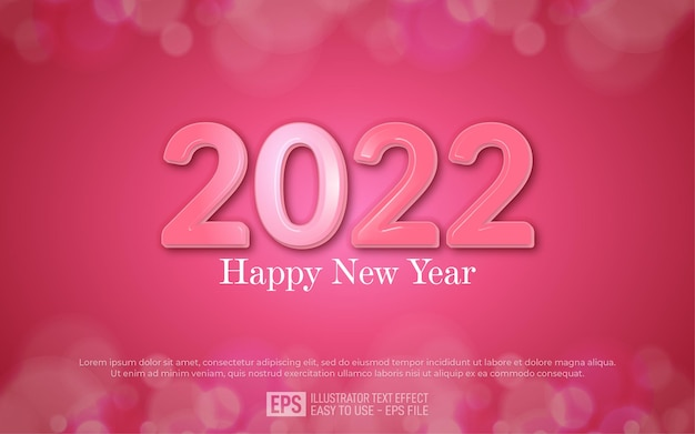 2022 happy new yea 3d text editable style effect template