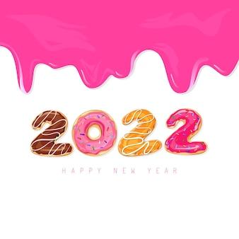2022년 새해 복 많이 받으세요. 2022 도넛과 액체 핑크 카라멜, 페인트가 있는 인사말 카드. 흰색 배경에 고립 된 다채로운 휴가 레이블로 달콤한 벡터 일러스트 레이 션