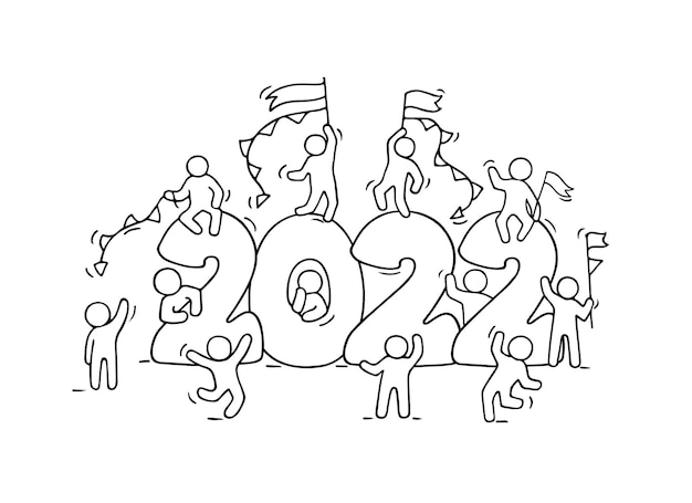 2022 happy new year background. hand drawn vector illustration.