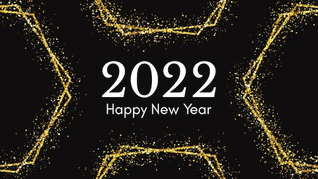 2022年明けましておめでとうございます。クリスマスホリデーグリーティングカード、チラシ、ポスター用のゴールドのキラキラ効果のある白い碑文。ベクトルイラスト