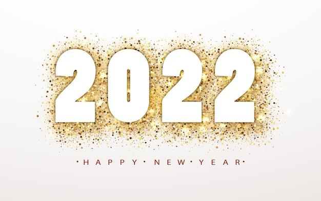 황금 반짝이 번호와 2022 새해 복 많이 받으세요 배경. 크리스마스 겨울 휴가 디자인. 숫자와 함께 황금 반짝이 벡터 먼지 원입니다.