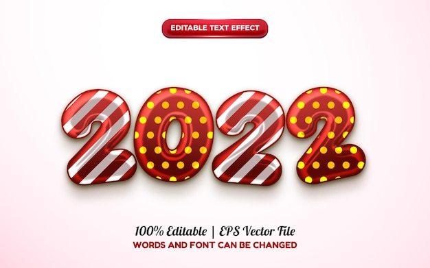 2022年明けましておめでとうバルーン編集可能なテキスト効果