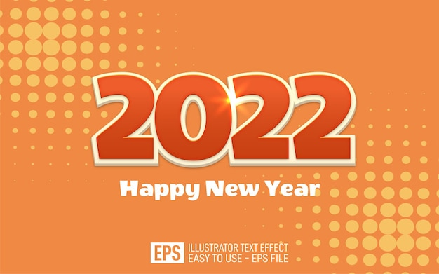 2022 happy new year banner editable 3d style