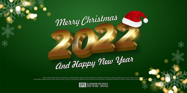 2022 happy new year banner gold number design on green color background, glitter with snowflake, santa hat christmas.