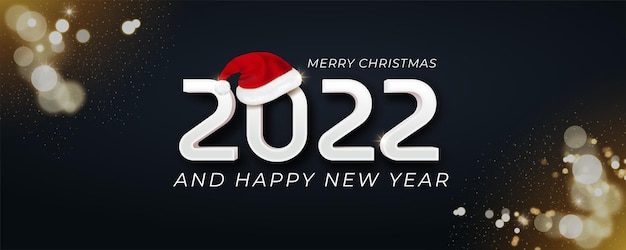 2022 happy new year banner with santa hat icon between numbers