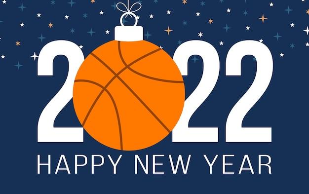 2022 새해 복 많이 받으세요 농구 벡터 일러스트입니다. 색상 배경에 농구 공이 있는 플랫 스타일 스포츠 2022 인사말 카드. 벡터 일러스트 레이 션.