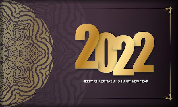 2022 happy new year brochure template burgundy color luxury gold ornament