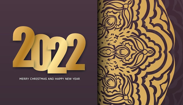 2022 happy new year burgundy holiday flyer with luxury gold ornament