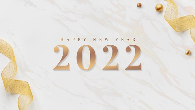 2022 happy new year card gold ribbons wallpaper on white marble design vector