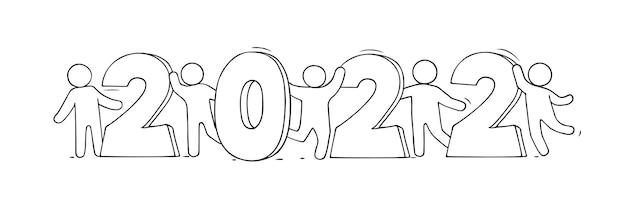 2022 happy new year card. hand drawn vector illustration.