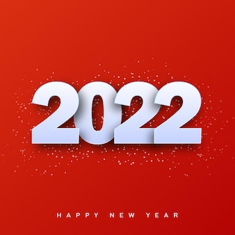2022 happy new year card with 3d white text on red background. vector.
