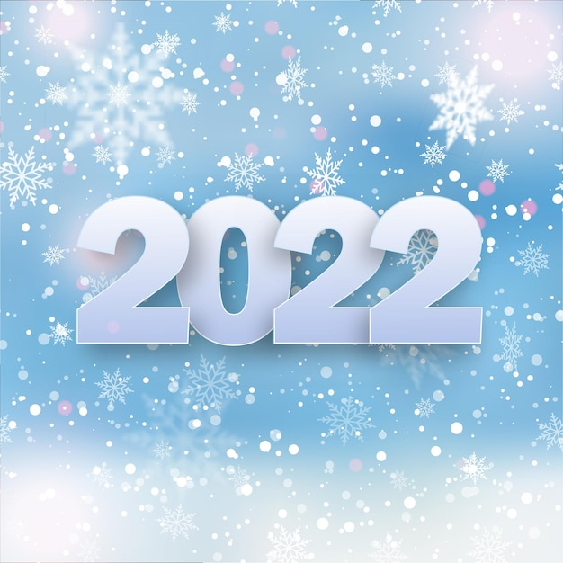 Открытка с новым годом 2022 с падающими снежинками на голубом небе. вектор