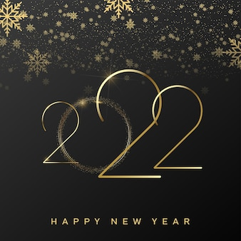 2022 happy new year card with luxury golden text and falling snowflakes. vector.