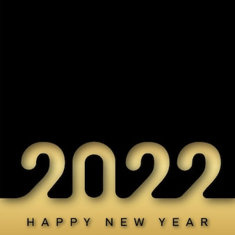 2022年賀状、黒の背景に豪華な金色のテキスト。ベクター