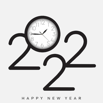 2022 happy new year card with vintage watch. vector