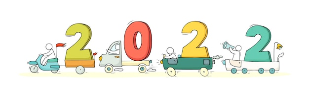 2022 happy new year concept with cars