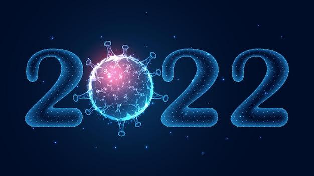 2022年明けましておめでとうございます。コロナウイルスコンセプトライン接続。低ポリワイヤーフレームデザイン。抽象的な幾何学的な背景。ベクトルイラスト。