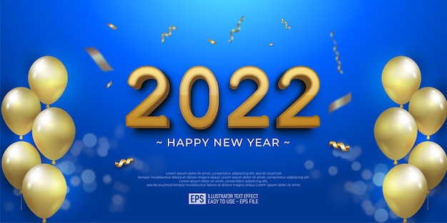2022 happy new year design on blue sweet color background