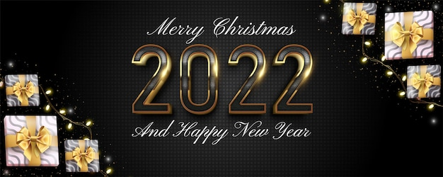 2022 happy new year design on a dark and gold color background
