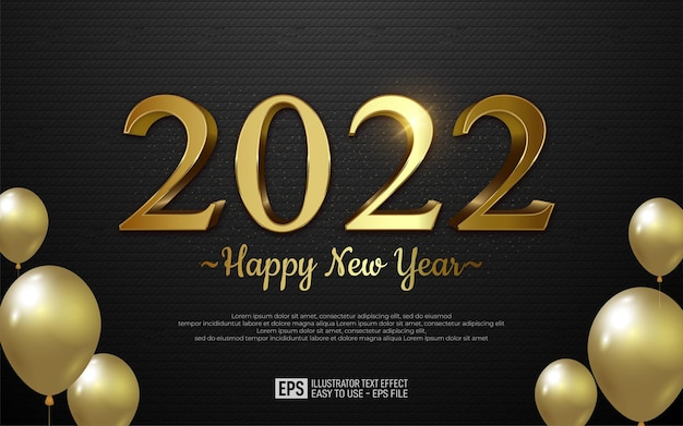 2022 happy new year design in gold number