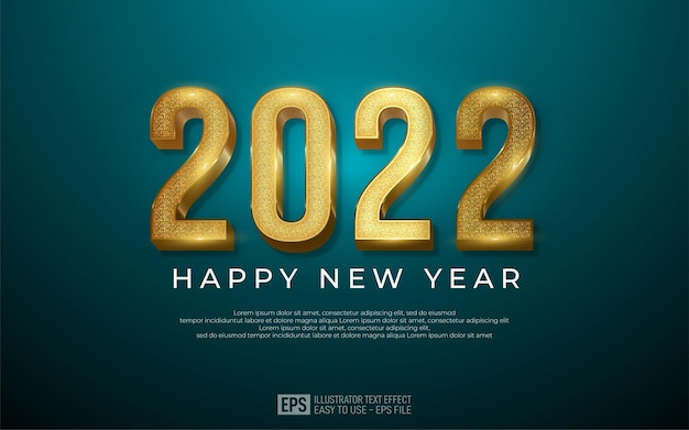 2022 happy new year design in luxury gold number