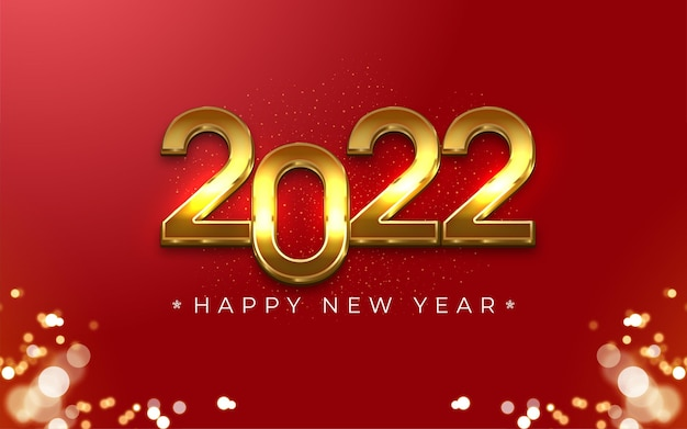 2022 happy new year editable gold number 3d style on red background