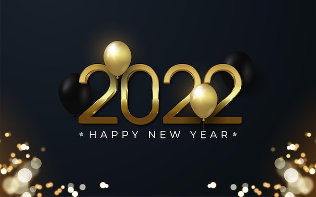 2022 happy new year editable gold number 3d style with balloons around the number