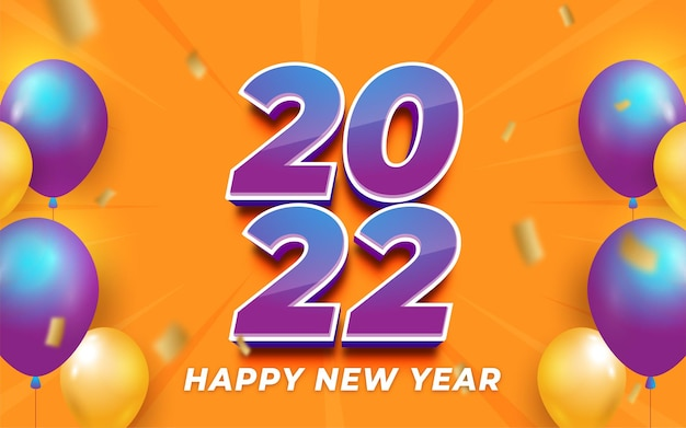 2022 happy new year editable gradient number 3d style