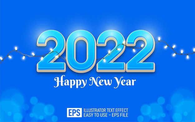 2022 happy new year editable number 3d style