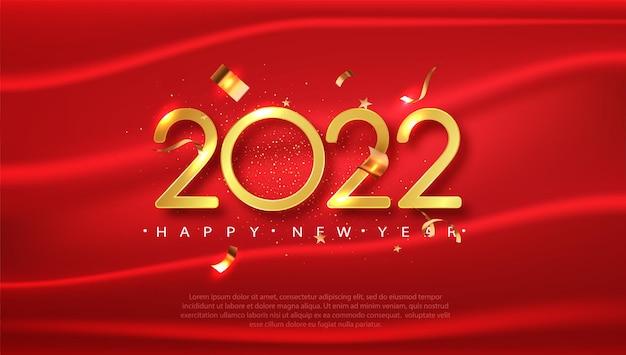 2022 새해 복 많이 받으세요 우아한 디자인. 인사말 카드, 달력에 대 한 빨간색 축제 배경입니다.