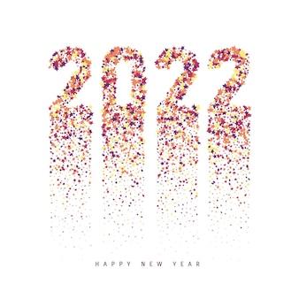 カラフルな色とりどりの星の紙吹雪から2022年明けましておめでとうございます