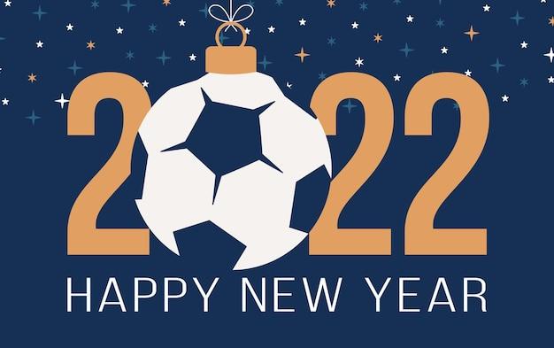 2022년 새해 복 많이 받으세요. 파란색 배경에 축구공과 축구공이 있는 평평한 스포츠 인사말 카드. 벡터 일러스트 레이 션.