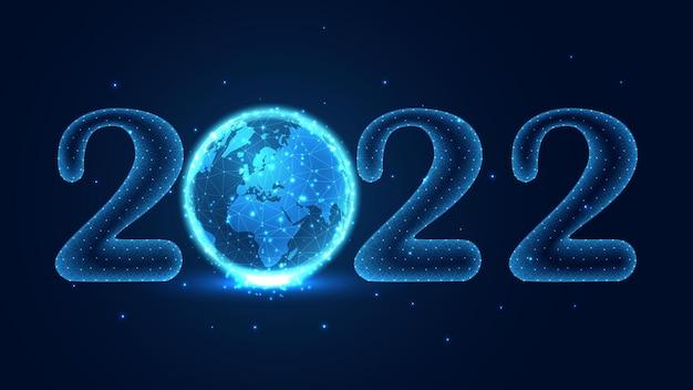 С новым 2022 годом. глобальное соединение концептуальной линии связи. низкополигональная каркасная конструкция. абстрактный геометрический фон. векторные иллюстрации.
