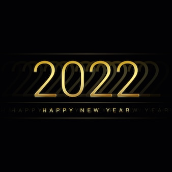 2022 happy new year glossy golden numbers on a dark background