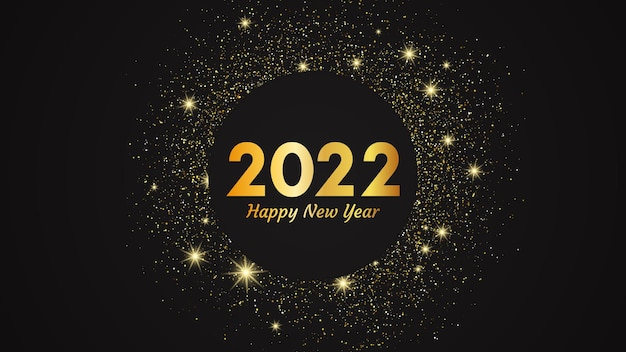 2022 happy new year gold background. abstract backdrop with a gold inscription  on dark for christmas holiday greeting card, flyers or posters. vector illustration
