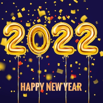2022 happy new year gold balloons gold foil numerals with confetti ribbons poster