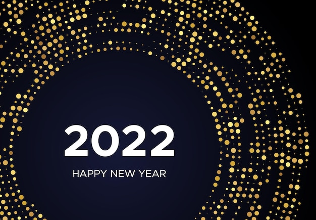 2022 happy new year of gold glitter pattern in circle form. abstract gold glowing halftone dotted background for christmas holiday greeting card on dark background. vector illustration