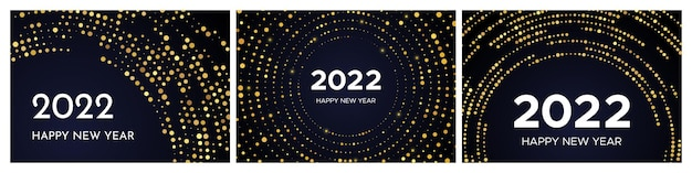 2022 happy new year of gold glitter pattern in circle form. set of three abstract gold glowing halftone dotted backgrounds for christmas holiday greeting card on dark background. vector illustration