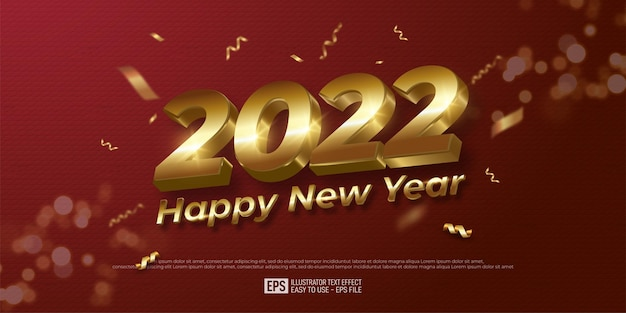 2022 happy new year gold number design on red color background