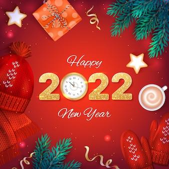 С новым годом 2022 золотые числа с блестками и настенные часы фон баннер флаер карта