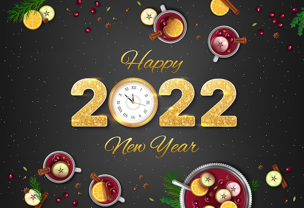2022 새해 복 많이 받으세요 황금 숫자 장식 조각과 벽시계 배너 전단지 카드 펀치
