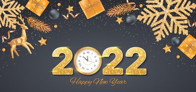 С новым годом 2022 золотые числа с пайетками и настенными часами баннер-флаер