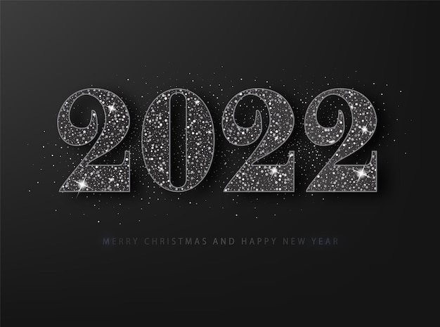 2022年明けましておめでとうグレーティングカード。黒の背景に黒のキラキラ。