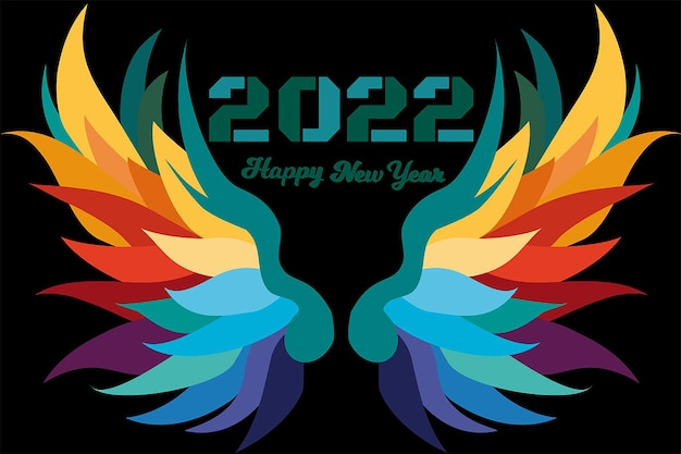 2022 happy new year green color modern style
