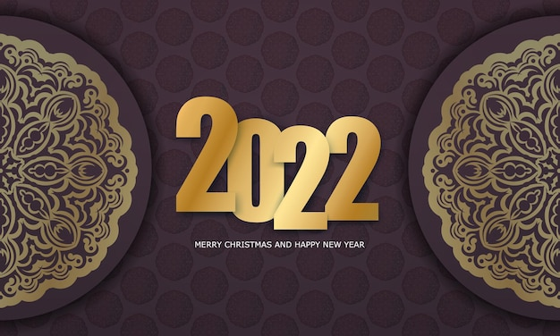 2022 happy new year greeting brochure template burgundy color luxury gold ornament