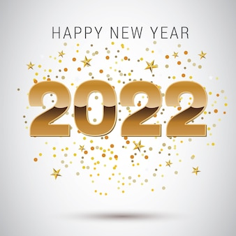2022 happy new year greeting card design
