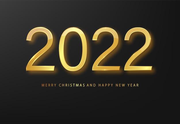 2022 felice anno nuovo biglietto di auguri oro e sfondo nero. sfondo nero di capodanno. copertina del diario aziendale per il 20221 con i desideri. modello di progettazione brochure, carta, banner Vettore gratuito