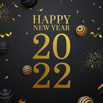 2022 happy new year greeting card in gold and black color